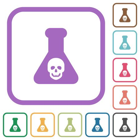 Dangerous chemical experiment simple icons in color rounded square frames on white background