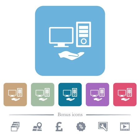 Shared computer white flat icons on color rounded square backgrounds. 6 bonus icons included