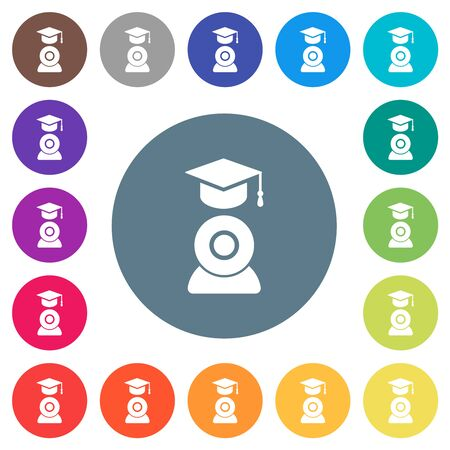 Distance learning flat white icons on round color backgrounds. 17 background color variations are included. Vectores