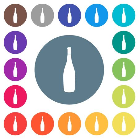 Wine bottle flat white icons on round color backgrounds. 17 background color variations are included.