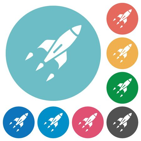 Rocket flat white icons on round color backgrounds