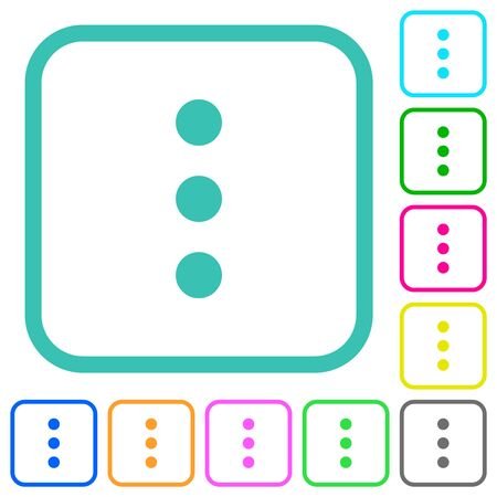 More options vivid colored flat icons in curved borders on white background  イラスト・ベクター素材