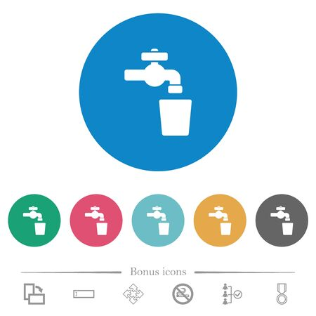 Drinking water flat white icons on round color backgrounds. 6 bonus icons included. Illustration