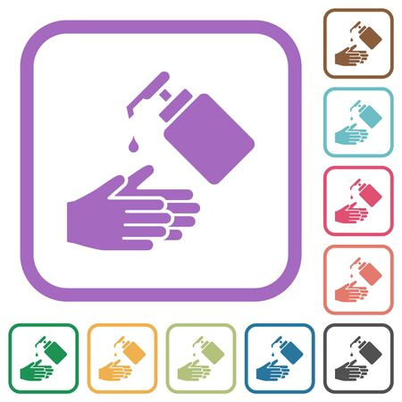Hand washing with liquid soap simple icons in color rounded square frames on white background