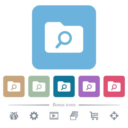 Folder search white flat icons on color rounded square backgrounds. 6 bonus icons included Illustration