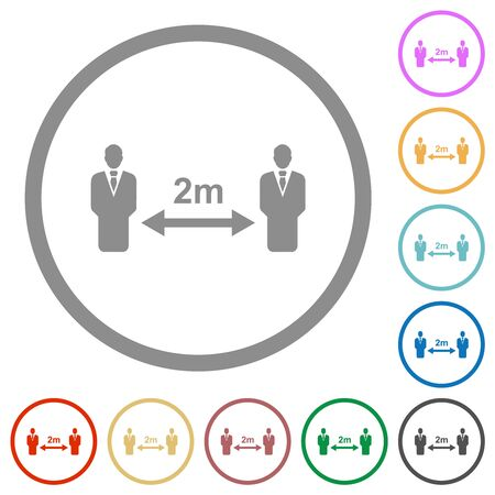 Social distancing 2 meters flat color icons in round outlines on white background