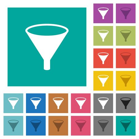 Funnel multi colored flat icons on plain square backgrounds. Included white and darker icon variations for hover or active effects. Stock Illustratie