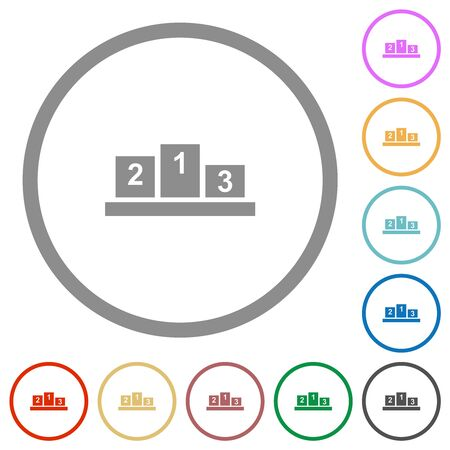 Winners podium with inside numbers flat color icons in round outlines on white background