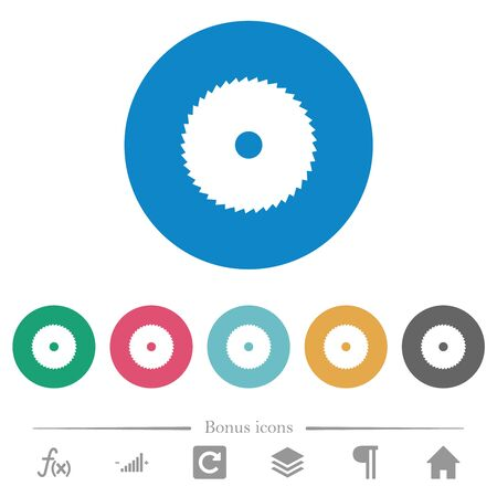 Circular saw flat white icons on round color backgrounds. 6 bonus icons included.