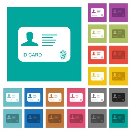ID card with fingerprint multi colored flat icons on plain square backgrounds. Included white and darker icon variations for hover or active effects. Vecteurs