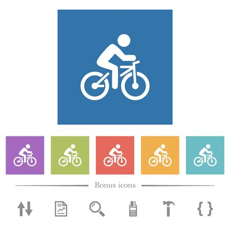 Bicycle with rider flat white icons in square backgrounds. 6 bonus icons included.