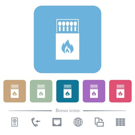 Box of matches white flat icons on color rounded square backgrounds. 6 bonus icons included