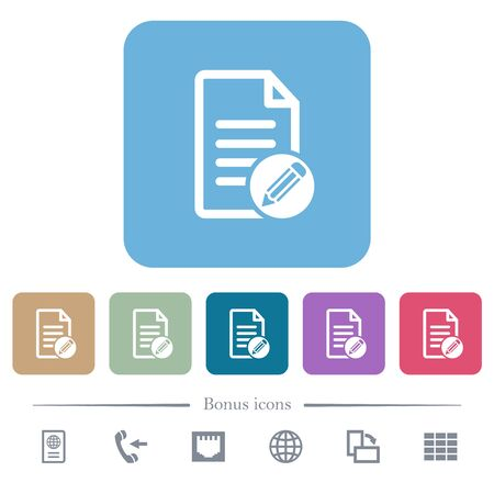 Edit document white flat icons on color rounded square backgrounds. 6 bonus icons included Illustration