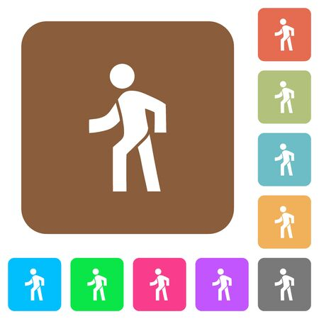 Man walking left flat icons on rounded square vivid color backgrounds. Illustration