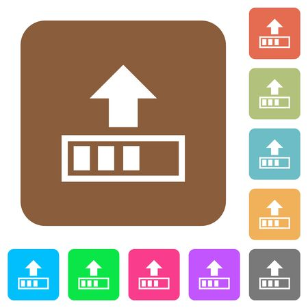 Upload in progress flat icons on rounded square vivid color backgrounds.