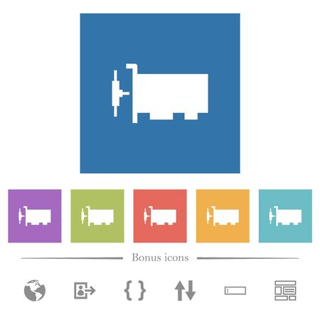 Network interface card flat white icons in square backgrounds. 6 bonus icons included.  イラスト・ベクター素材