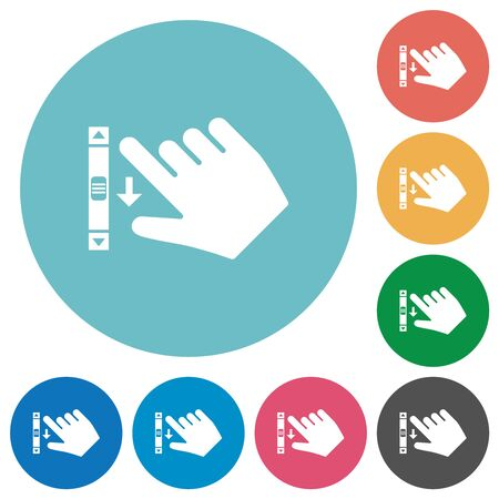 Right handed scroll down gesture flat white icons on round color backgrounds