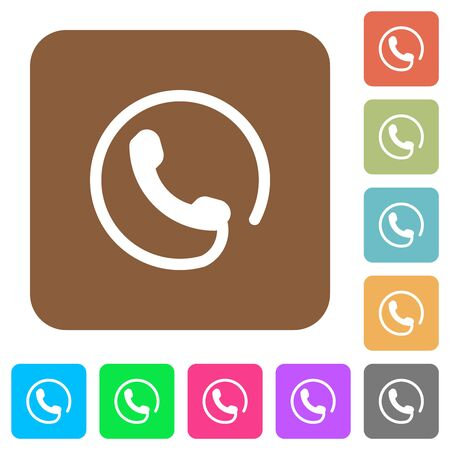 Hotline flat icons on rounded square vivid color backgrounds.