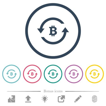 Bitcoin pay back flat color icons in round outlines. 6 bonus icons included. Иллюстрация