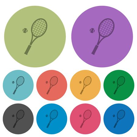 Tennis racket with ball darker flat icons on color round background