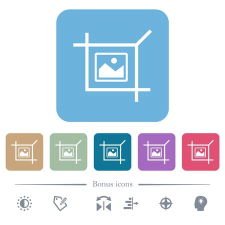 Crop picture white flat icons on color rounded square backgrounds. 6 bonus icons included