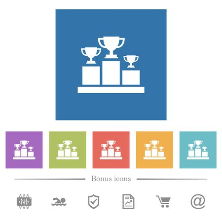 Winner podium with trophy cups flat white icons in square backgrounds. 6 bonus icons included. 向量圖像