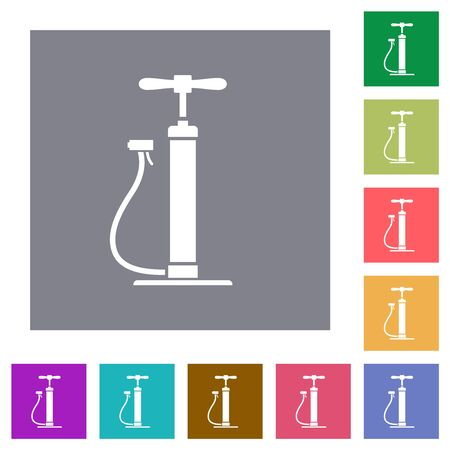 Air pump flat icons on simple color square backgrounds