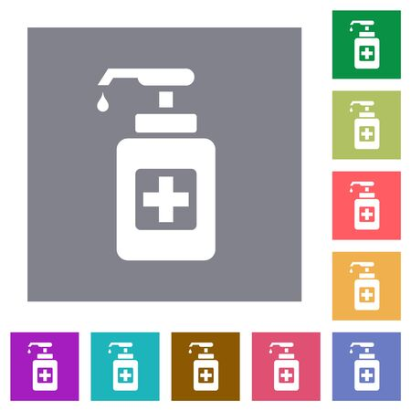 Hand sanitizer flat icons on simple color square backgrounds 向量圖像