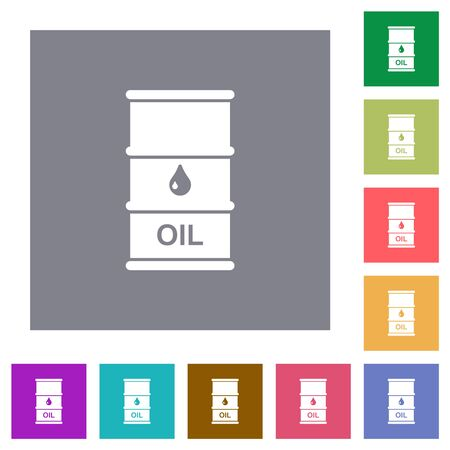 Oil barrel flat icons on simple color square backgrounds