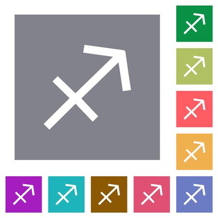 Sagittarius zodiac symbol flat icons on simple color square backgrounds 向量圖像