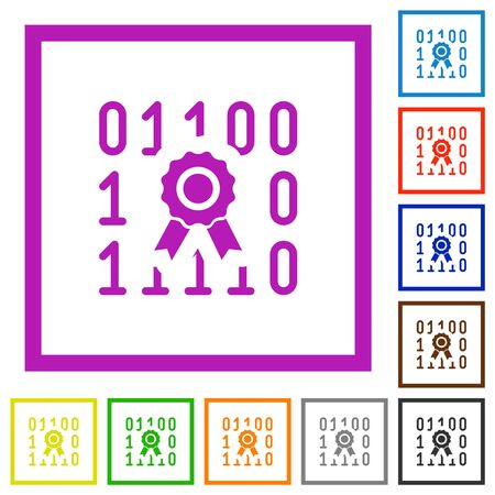 Digital certificate flat color icons in square frames on white background 向量圖像