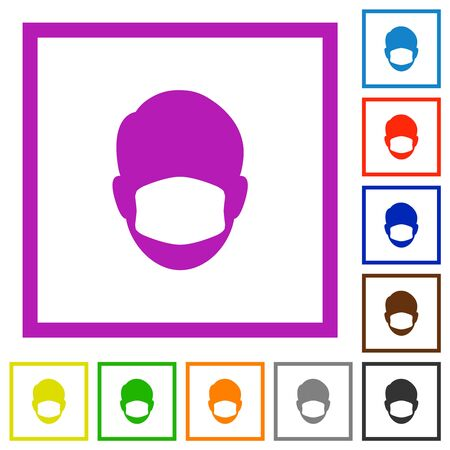 Face with medical mask flat color icons in square frames on white background