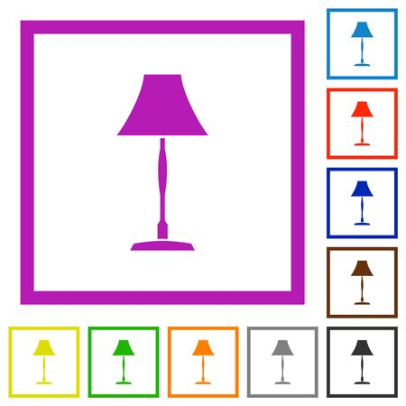 Standing lampshade flat color icons in square frames on white background