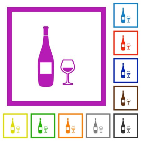 Wine bottle and glass flat color icons in square frames on white background