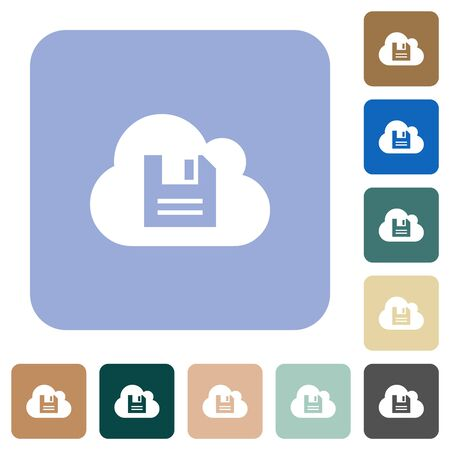 Cloud storage white flat icons on color rounded square backgrounds
