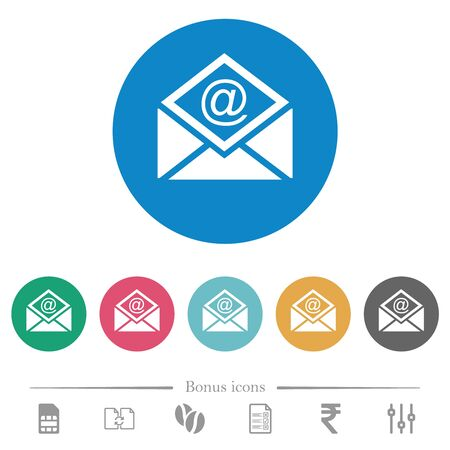 Open mail with email symbol flat white icons on round color backgrounds. 6 bonus icons included. 向量圖像