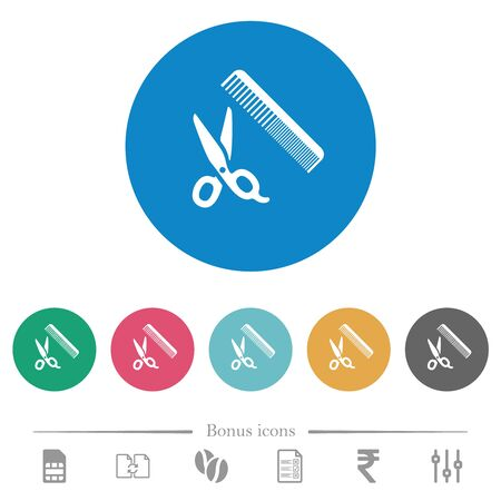 Comb and scissors flat white icons on round color backgrounds. 6 bonus icons included.