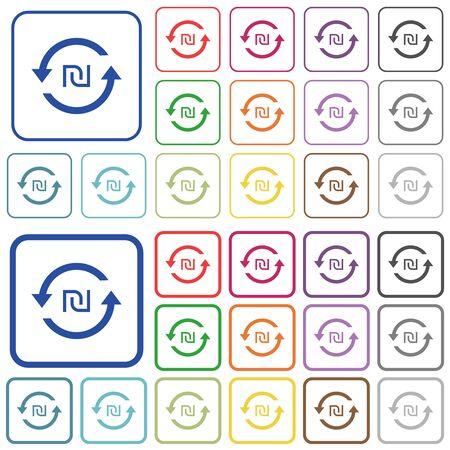 New Shekel pay back color flat icons in rounded square frames. Thin and thick versions included. Ilustração