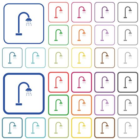 Shower color flat icons in rounded square frames. Thin and thick versions included. Ilustração