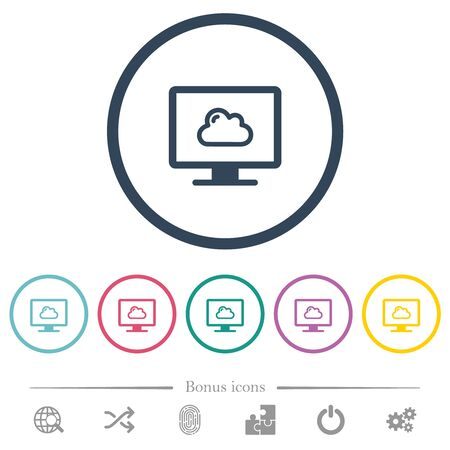 Cloud computing flat color icons in round outlines. 6 bonus icons included.