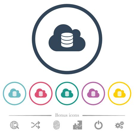 Cloud database flat color icons in round outlines. 6 bonus icons included.