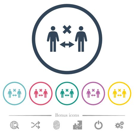 Incorrect social distancing flat color icons in round outlines. 6 bonus icons included.