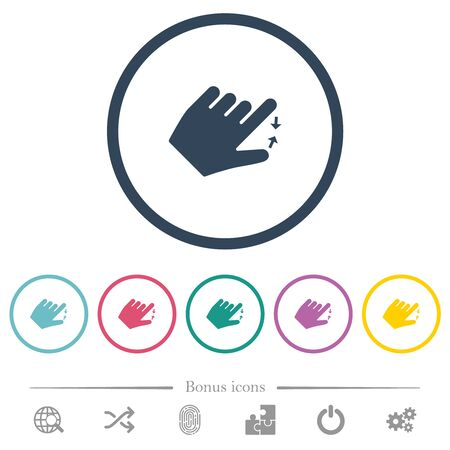 Left handed pinch close gesture flat color icons in round outlines. 6 bonus icons included.