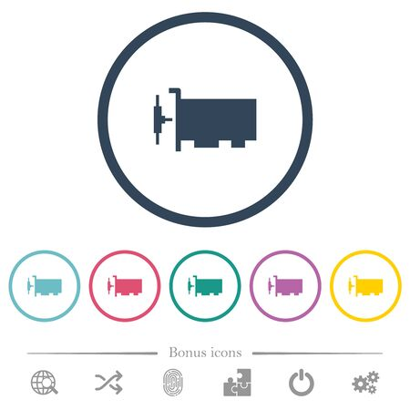 Network interface card flat color icons in round outlines. 6 bonus icons included.