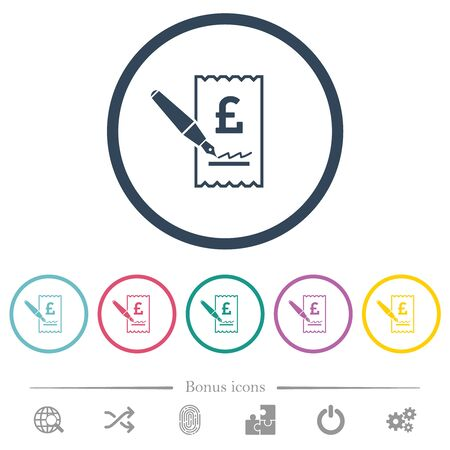 Signing Pound cheque flat color icons in round outlines. 6 bonus icons included.