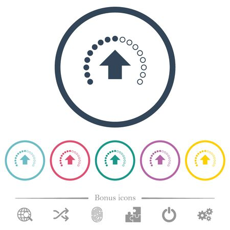 Upload in progress flat color icons in round outlines. 6 bonus icons included.