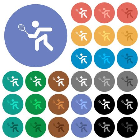 Tennis player multi colored flat icons on round backgrounds. Included white, light and dark icon variations for hover and active status effects, and bonus shades. 向量圖像