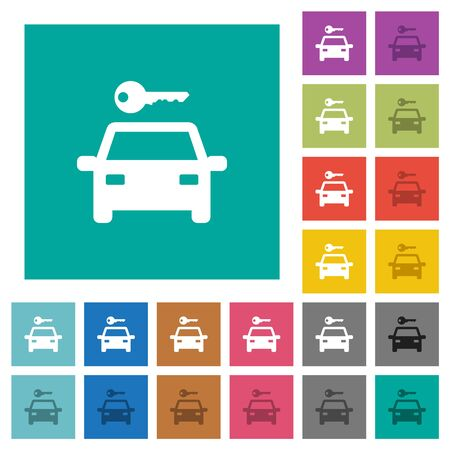 Car rental multi colored flat icons on plain square backgrounds. Included white and darker icon variations for hover or active effects. Illustration