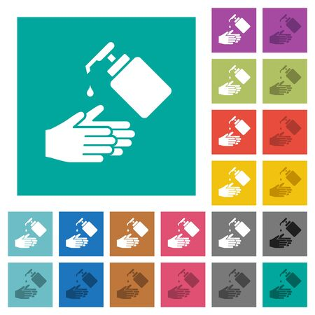 Hand washing with liquid soap multi colored flat icons on plain square backgrounds. Included white and darker icon variations for hover or active effects. Vectores
