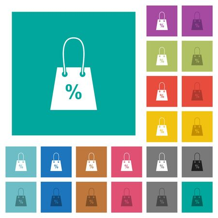 Shopping bag with percent sign multi colored flat icons on plain square backgrounds. Included white and darker icon variations for hover or active effects. Ilustração